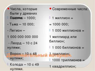 Дополнительный материал. Числа, которые были у древних славян: Современные чи