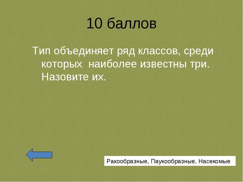 10 баллов Тип объединяет ряд классов, среди которых наиболее известны три. На...