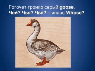 Гогочет громко серый goose. Чей? Чья? Чьё? – иначе Whose?