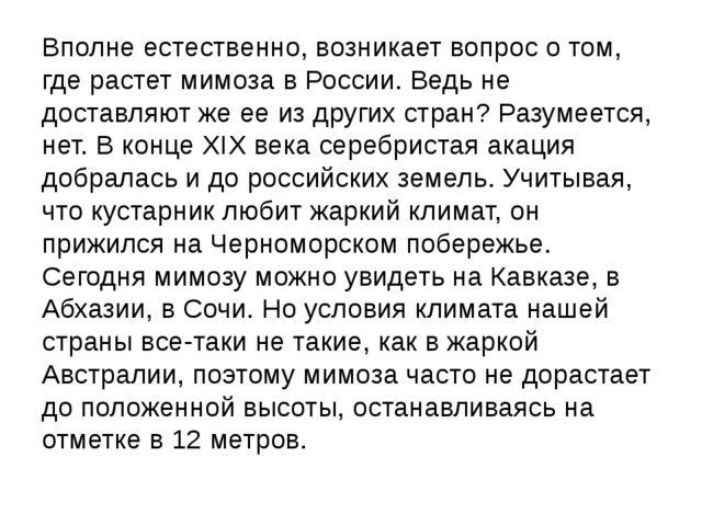 Вполне естественно, возникает вопрос о том, где растет мимоза в России. Ведь...