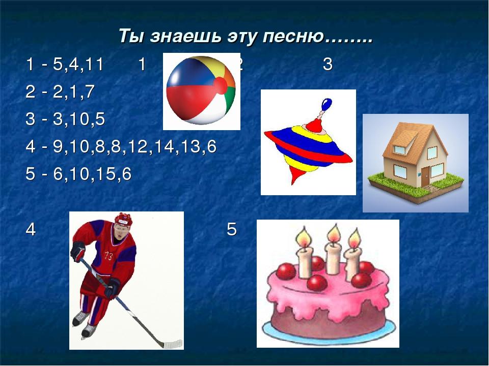 Ты знаешь эту песню…….. 1 - 5,4,11 1 2 3 2 - 2,1,7 3 - 3,10,5 4 - 9,10,8,8,12...