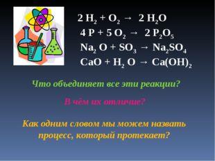 2 H2 + O2 → 2 H2O 4 P + 5 O2 → 2 P2O5 Na2 O + SO3 → Na2SO4 CaO + H2 O → Ca(OH