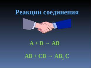 Реакции соединения A + B → AB AB + CB → AB2 C