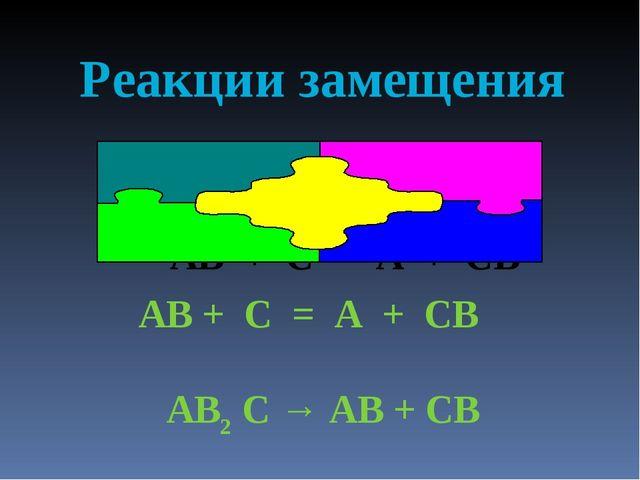 Реакции замещения АВ + С = А + СВ АВ + С = А + СВ AB2 C → AB + CB