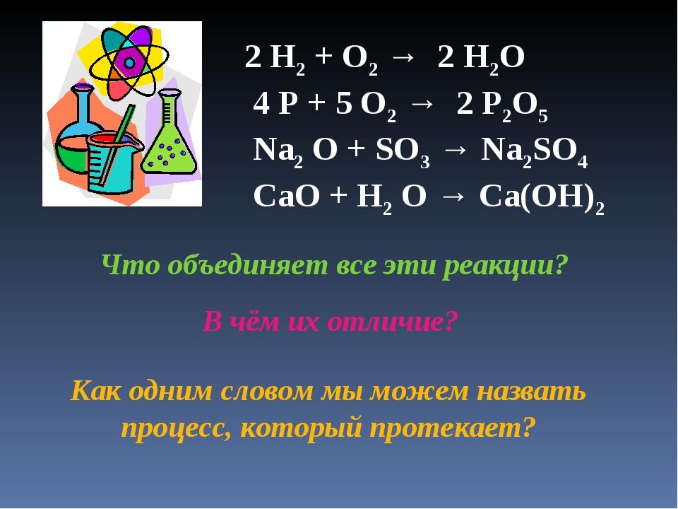 2 H2 + O2 → 2 H2O 4 P + 5 O2 → 2 P2O5 Na2 O + SO3 → Na2SO4 CaO + H2 O → Ca(OH...