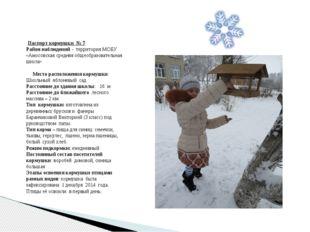 Паспорт кормушки № 7 Район наблюдений - территория МОБУ «Амосовская средняя