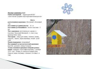 Паспорт кормушки № 9 Район наблюдений - территория МОБУ «Амосовская средняя о
