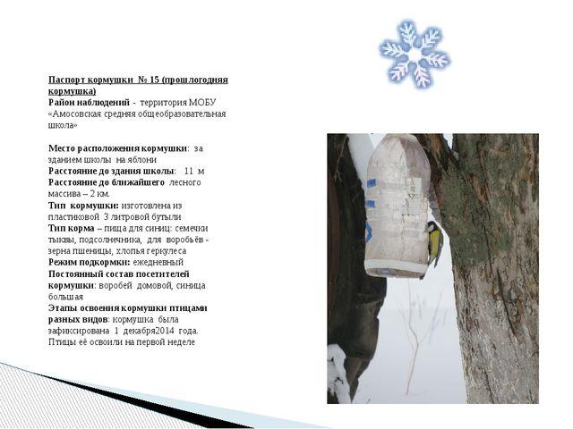 Паспорт кормушки № 15 (прошлогодняя кормушка) Район наблюдений - территория М...