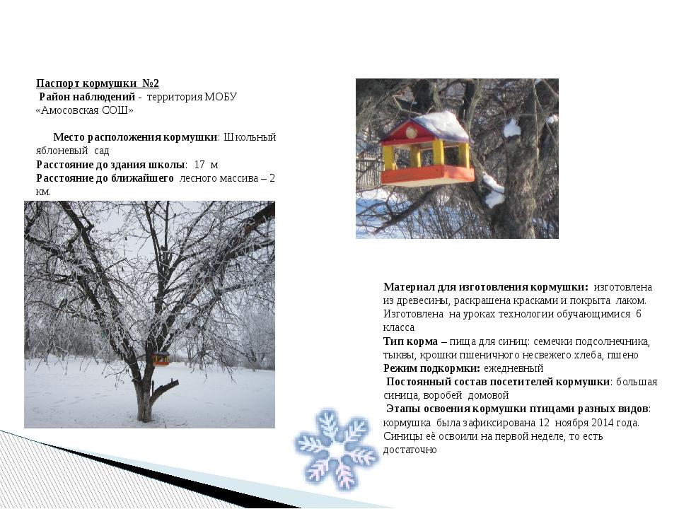 Паспорт кормушки №2 Район наблюдений - территория МОБУ «Амосовская СОШ» Место...