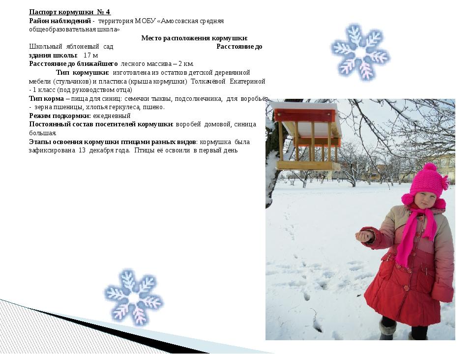 Паспорт кормушки № 4 Район наблюдений - территория МОБУ «Амосовская средняя о...