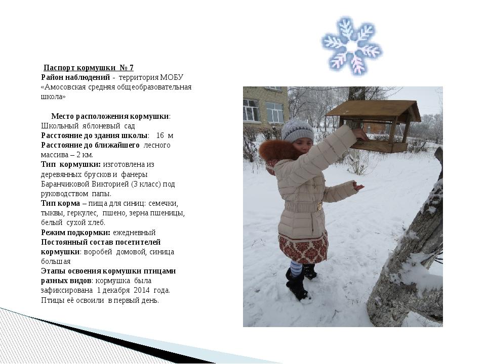Паспорт кормушки № 7 Район наблюдений - территория МОБУ «Амосовская средняя...