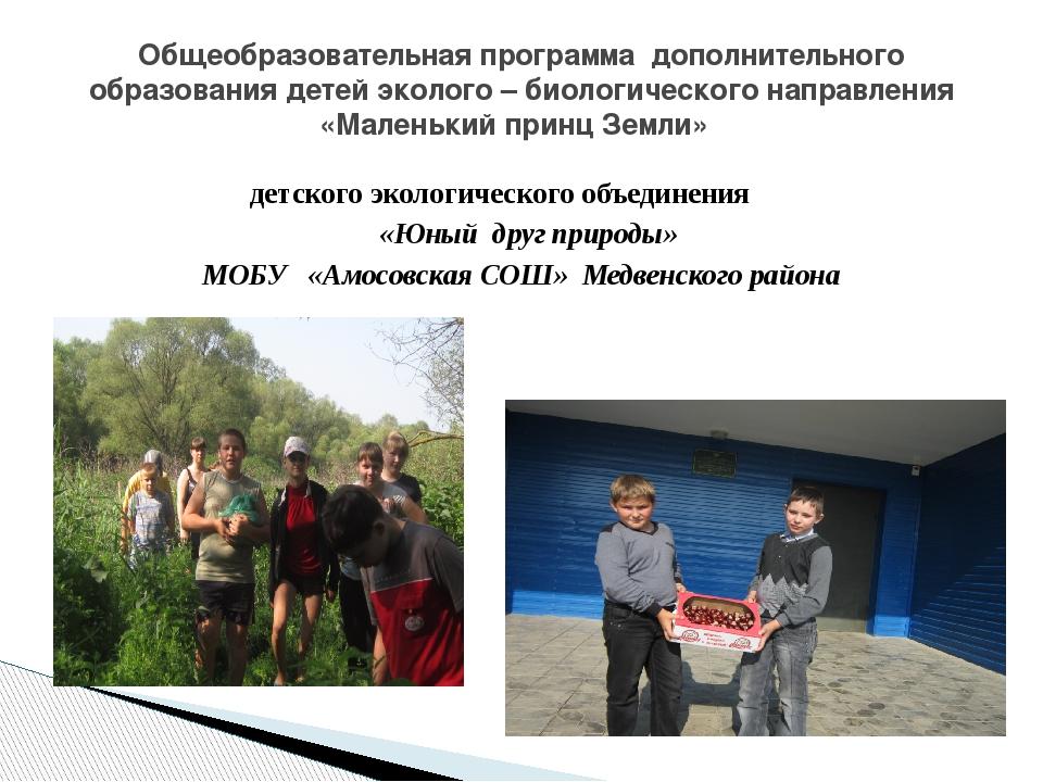 детского экологического объединения «Юный друг природы» МОБУ «Амосовская СОШ»...