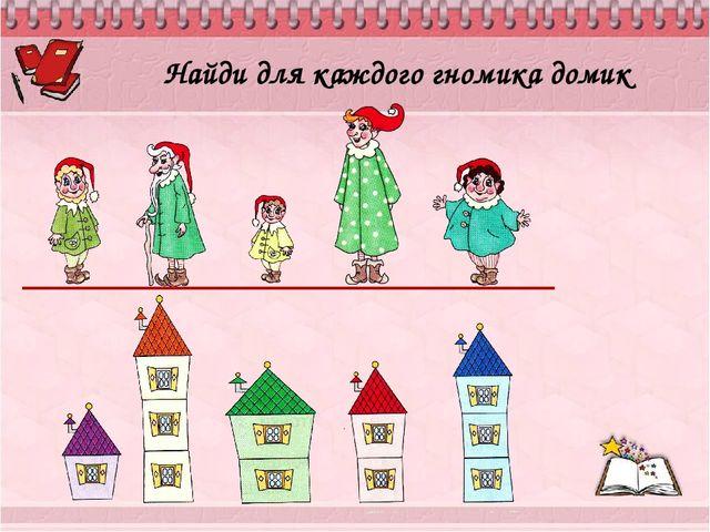 Найди для каждого гномика домик