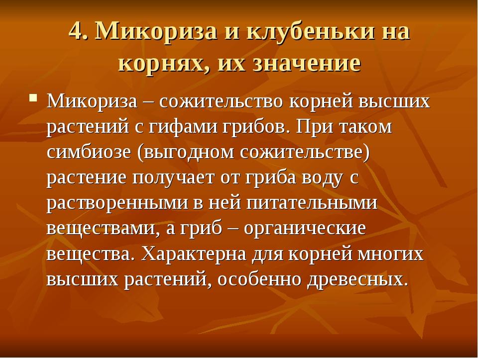 4. Микориза и клубеньки на корнях, их значение Микориза – сожительство корней...