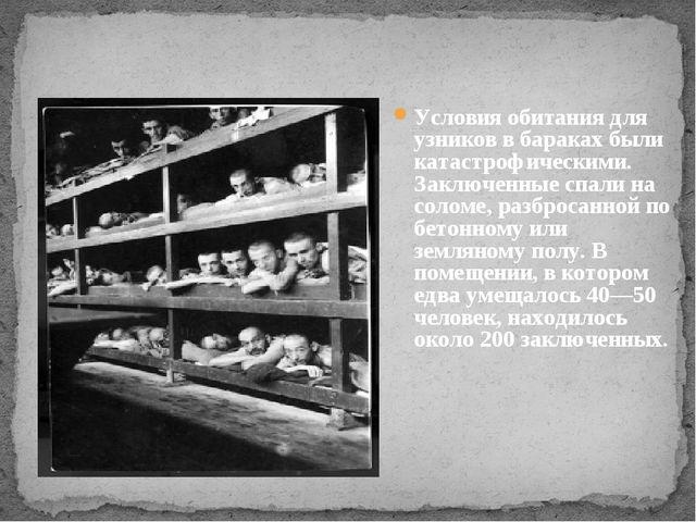 Условия обитания для узников в бараках были катастрофическими. Заключенные сп...