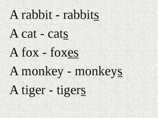 A rabbit - rabbits A cat - cats A fox - foxes A monkey - monkeys A tiger - ti