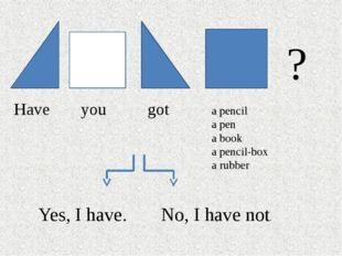 Have you got a pencil a pen a book a pencil-box a rubber ? Yes, I have. No,