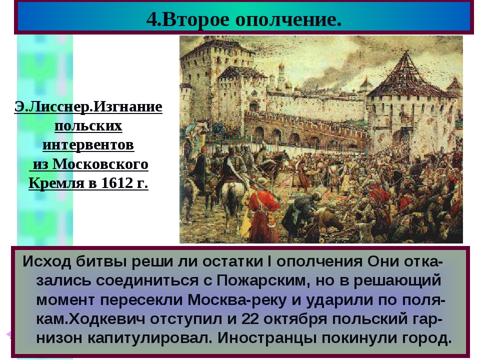 4.Второе ополчение. Исход битвы реши ли остатки I ополчения Они отка-зались с...