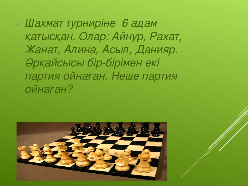 №1 тапсырма Шахмат турниріне 6 адам қатысқан. Олар: Айнур, Рахат, Жанат, Алин...