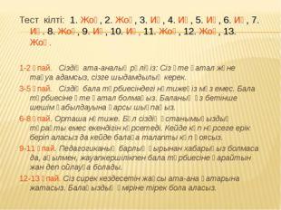 Тест кілті: 1. Жоқ, 2. Жоқ, 3. Иә, 4. Иә, 5. Иә, 6. Иә, 7. Иә. 8. Жоқ, 9. Иә,