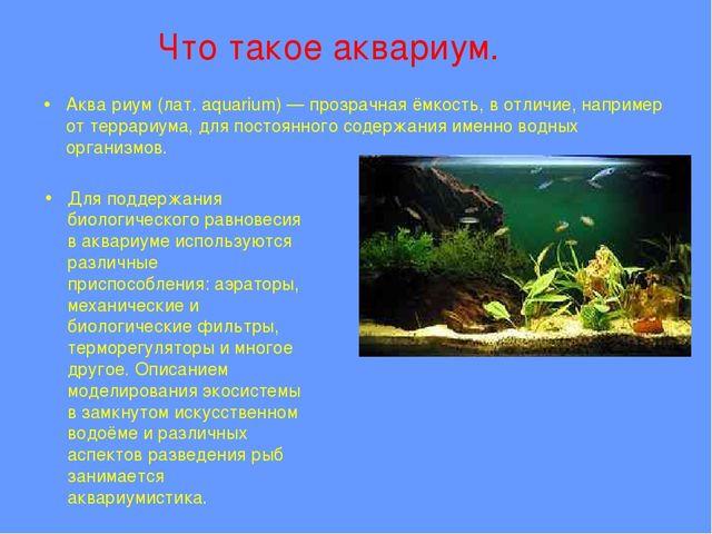 Что такое аквариум. Аква́риум (лат. aquarium) — прозрачная ёмкость, в отличи...