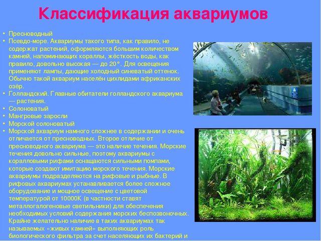 Пресноводный Псевдо-море. Аквариумы такого типа, как правило, не содержат рас...
