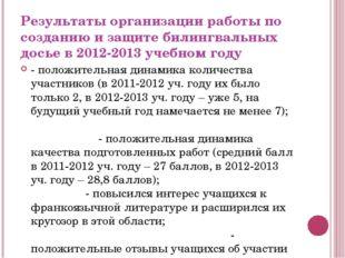 Результаты организации работы по созданию и защите билингвальных досье в 2012