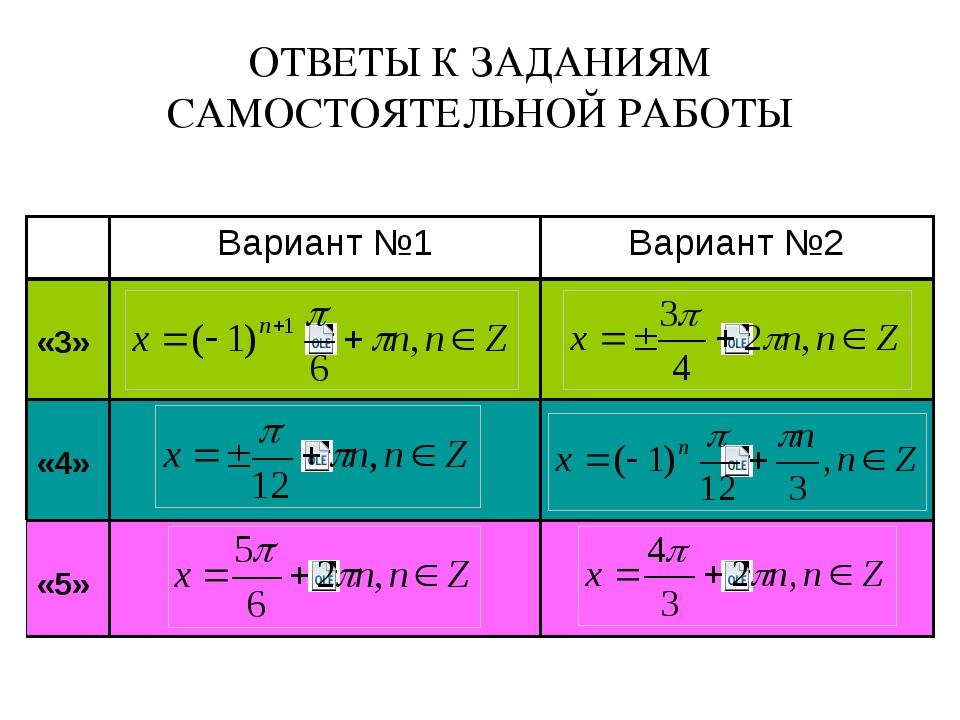 ОТВЕТЫ К ЗАДАНИЯМ САМОСТОЯТЕЛЬНОЙ РАБОТЫ Вариант №1 Вариант №2 «3» «4» «5»