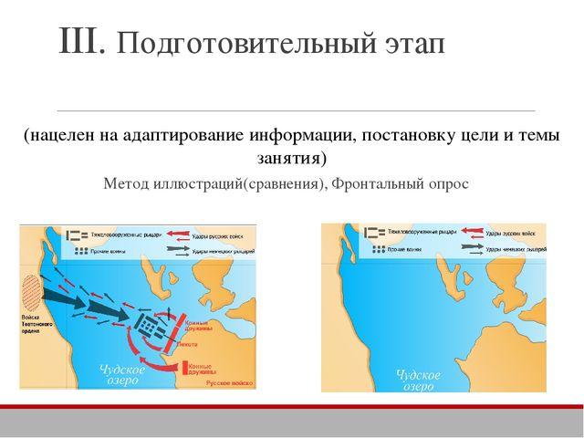 III. Подготовительный этап Метод иллюстраций(сравнения), Фронтальный опрос (н...