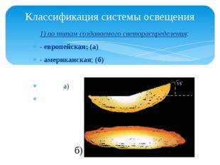 1) по типам создаваемого светораспределения: -европейская; (а) -американска