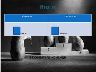 Итоги: Победитель команда Iкоманда IIкоманда очков очков