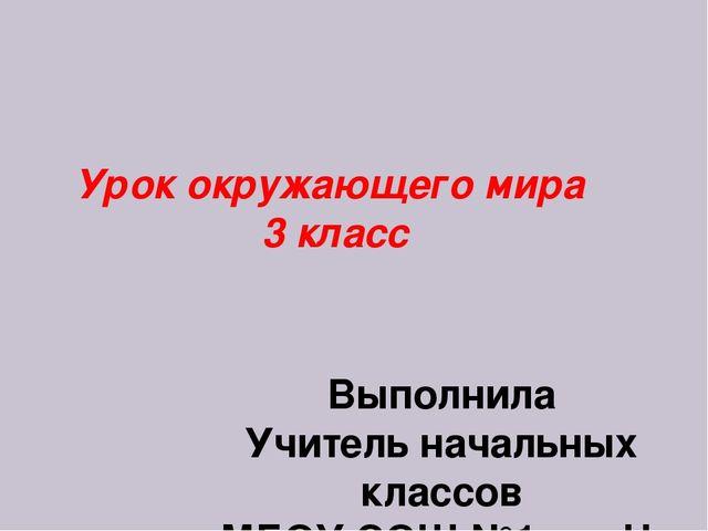 Урок окружающего мира 3 класс Выполнила Учитель начальных классов МБОУ СОШ №1...