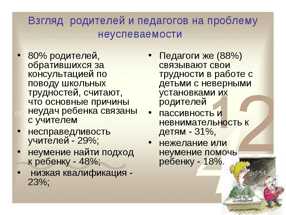 Взгляд родителей и педагогов на проблему неуспеваемости 80% родителей, обрати...
