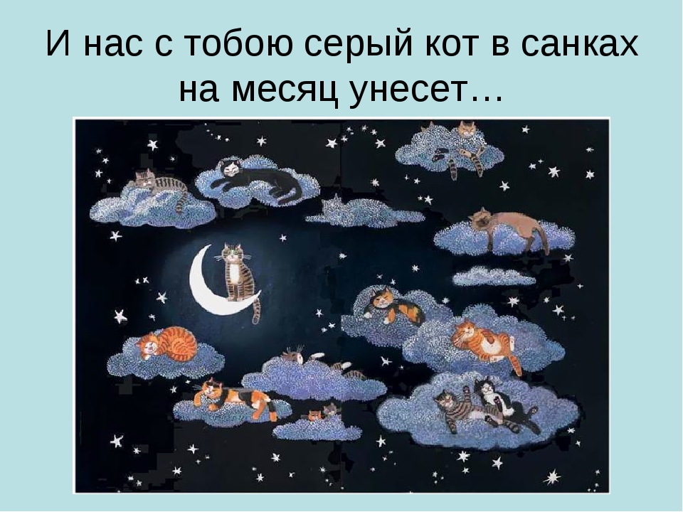 И нас с тобою серый кот в санках на месяц унесет…
