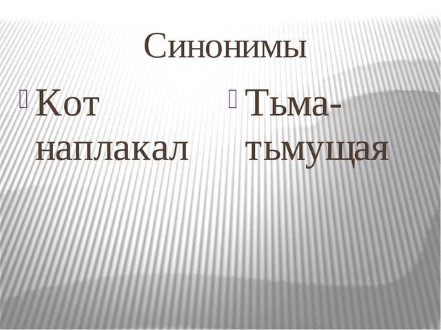 Синонимы Кот наплакал Тьма-тьмущая