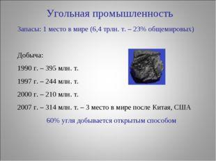 Угольная промышленность Запасы: 1 место в мире (6,4 трлн. т. – 23% общемировы
