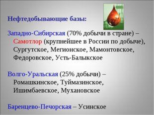 Нефтедобывающие базы: Западно-Сибирская (70% добычи в стране) – Самотлор (кру