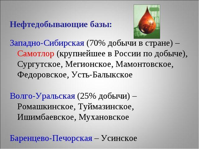 Нефтедобывающие базы: Западно-Сибирская (70% добычи в стране) – Самотлор (кру...