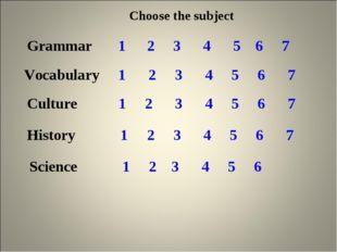 Choose the subject Grammar 1 2 3 4 5 6 7 Vocabulary 1 2 3 4 5 6 7 Culture