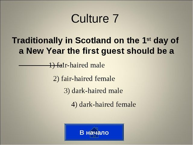 Traditionally in Scotland on the 1st day of a New Year the first guest should...