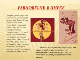 В цирке для поддержания равновесия канатоходцы используют большой веер или дл