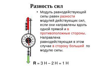 Разность сил Модуль равнодействующей силы равен разности модулей действующих