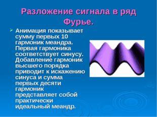 Разложение сигнала в ряд Фурье. Анимация показывает сумму первых 10 гармоник