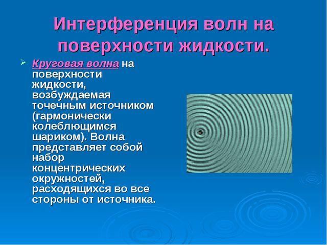 Интерференция волн на поверхности жидкости. Круговая волна на поверхности жид...