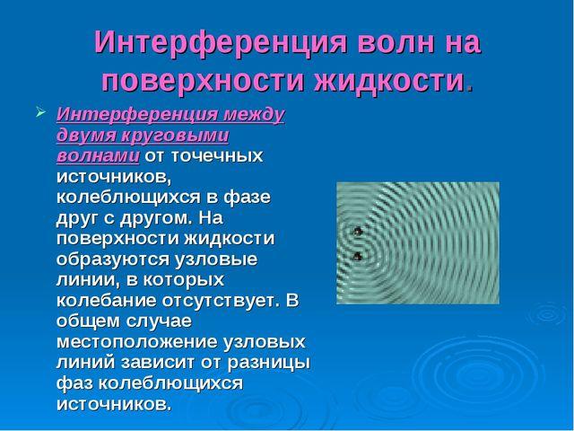 Интерференция волн на поверхности жидкости. Интерференция между двумя круговы...