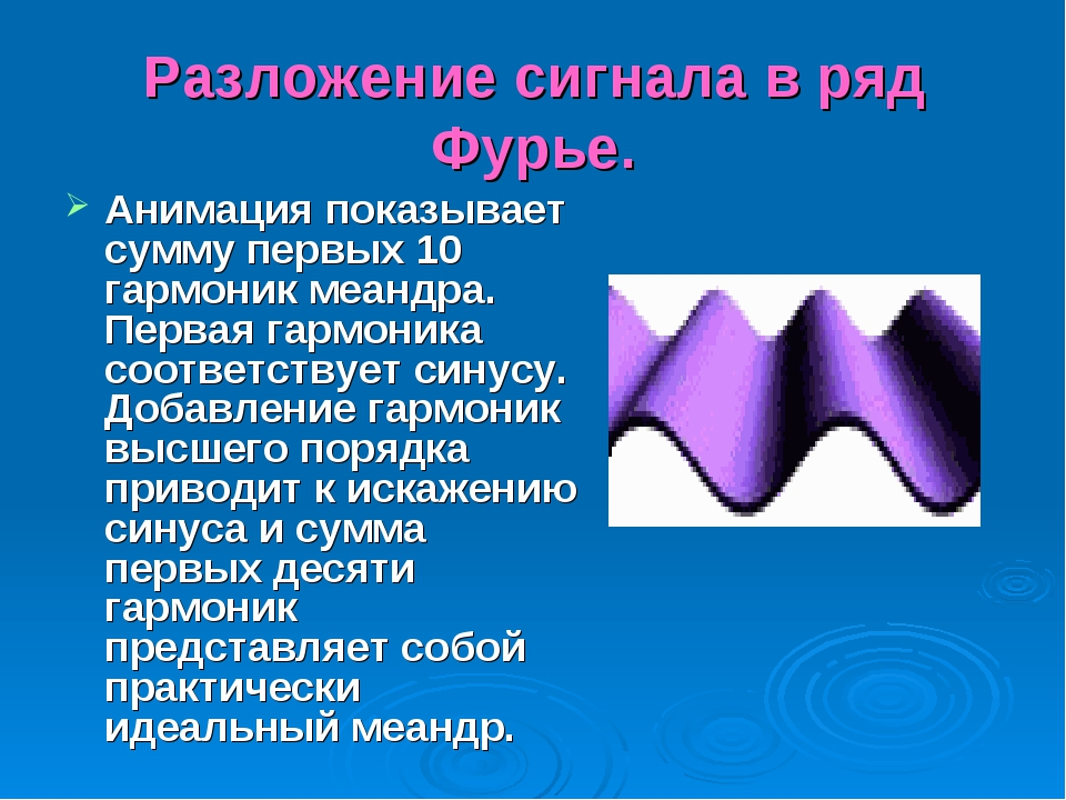 Разложение сигнала в ряд Фурье. Анимация показывает сумму первых 10 гармоник...