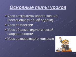 Основные типы уроков Урок «открытия» нового знания (постановки учебной задачи