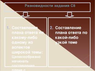 Разновидности задания С8 Составление плана ответа по какому-либо одному из ас