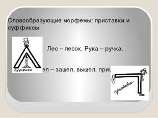 Словообразующие морфемы: приставки и суффиксы Лес – лесок. Рука – ручка. Шел