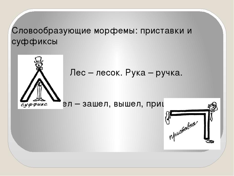 Словообразующие морфемы: приставки и суффиксы Лес – лесок. Рука – ручка. Шел...